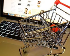 A mini shopping trolley on a laptop at CES Software