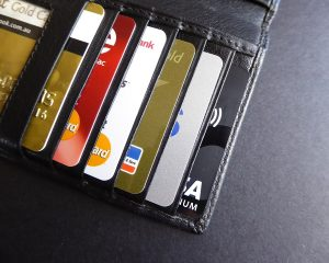 Close up of cards in a wallet.